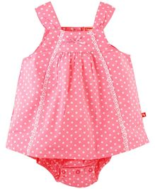 Fisher Price Apparel Small Polka Dots Sleeveless Frock With Bloomer - Pink