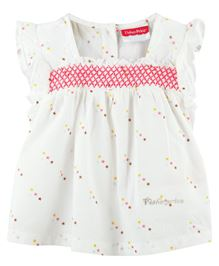 Fisher Price Apparel Star Print Cap Sleeve Dress - White