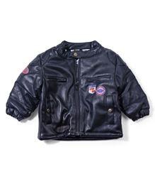 Ladybird Full Sleeves Front Open Jacket - Dark Navy Blue