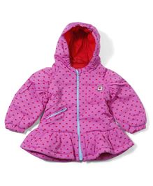 Ladybird Full Sleeves Hooded Jacket Allover Heart Design - Pink