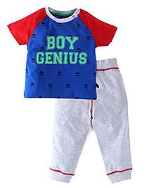 Ladybird Raglan Sleeves T-Shirt And Track Pants Genius Print - Red Blue Grey