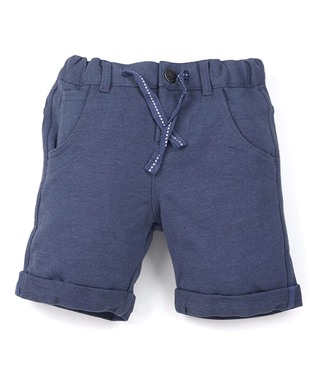 Fox Baby Solid Colour Shorts With Drawstring - Blue