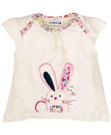 Ladybird Infant Cap Sleeves Top With Bunny Print - Cream
