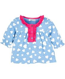 ladybird Infant Full Sleeves Top With Heart Print - Blue