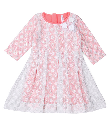 Lil'Posh Full Sleeves Party Frock Floral Appliques - Neon Pink White
