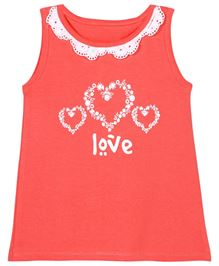 Ladybird Top With Lace And Print - Pink