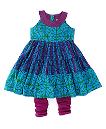 Lil'l Posh Sleeveless Kurti And Churidar - Blue Purple