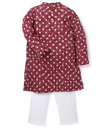 Lil' Posh Full Sleeves Kurta And Pajama Set - Maroon White