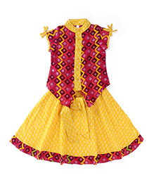Lil'l Posh Short Sleeves Top With Skirt - Yellow Pink
