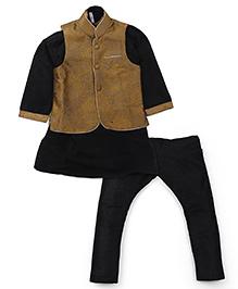 Lil'l Posh Kurta Pyjama Set With Jacket - Black