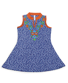 Lil' Posh Sleeveless Kurti Flower Embroidery - Blue