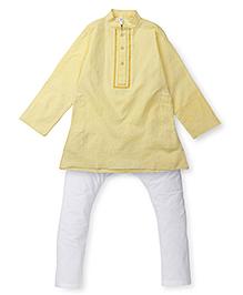 Lil'l Posh Full Sleeves Kurta Pajama Set - Yellow White
