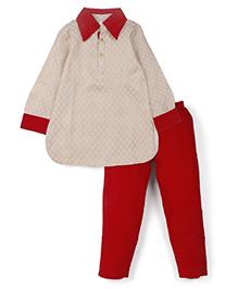 Lil' Posh Full Sleeves Kurta And Pajama - White Maroon