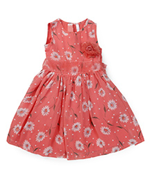 Lil Posh Sleeveless Frock With Flower Applique - Orange
