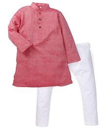 Lil' Posh Full Sleeves Kurta Pyjama Set - Pink White