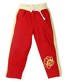 Oye Track Pant With Ribbed Waistband - Red & Yellow