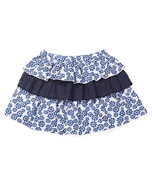 Nino Bambino Organic Cotton Layer Skirt Floral Print - Blue White