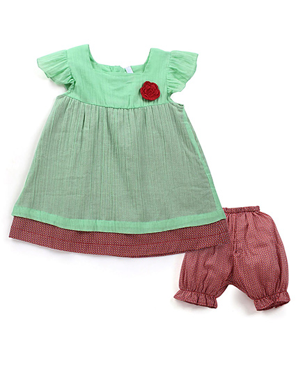 Oye Flutter Sleeves Top With Bloomer - Brown And Green