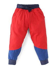 Babyoye Track Pants With Drawstring - Red Blue