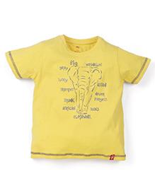 Oye Half Sleeves Printed T-Shirt - Yellow