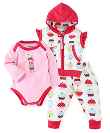 Snuggles Short Sleeves Hooded Sweat Jacket And Leggings With Onesie - Pink White