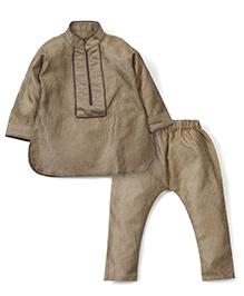 M&M Full Sleeves Kurta Pajama - Beige