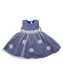 M&M Party Wear Sleeveless Dress Floral Appliques - Navy