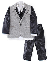 M&M Party Wear Set With Tie - Black White And Grey