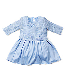 M&M Party Wear Embroidered Dress - Blue