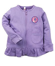 Oye Full Sleeves Sweat Jacket - Purple