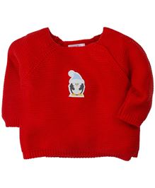 M&M Infants Tie-Up Full Sleeves Sweater - Red