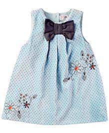M & M Sleeveless Printed Dress With Bow - Light Blue