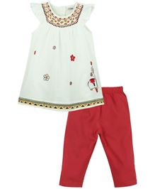 M&M Co-ordinate Set With Tights - White And Red