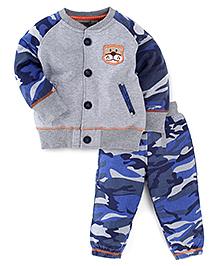 M&M Full Sleeves Sweatshirt And Track Pant - Grey Blue