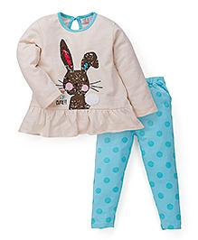 M&M Full Sleeves Top and Bottom Bunny Rabbit Print - Cream