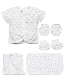 M&M Half Sleeves Baby Basic Multi Pieces Set Pack Of 7 - White