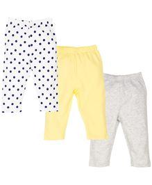 Babyoye Legging Pack Of 3 - White Yellow Grey