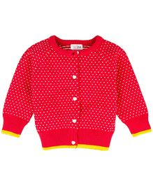 Babyoye Raglan Sleeves Sweater With Placket - Red