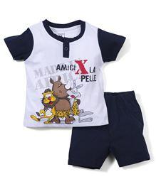 M&M Half Sleeves T-Shirt And Shorts Animal Print - Navy And White