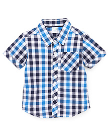 Babyhug Half Sleeves Checks Shirt - Blue Navy