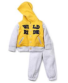 Babyoye Hooded Sweat Jacket And Pant Set - Yellow & Grey