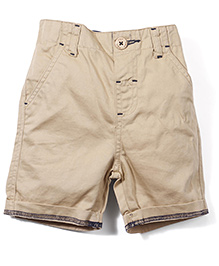 M&M Solid Color Shorts With Turn-Up Hem - Khaki