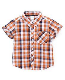 Babyhug Half Sleeves Checks Shirt - Orange Navy