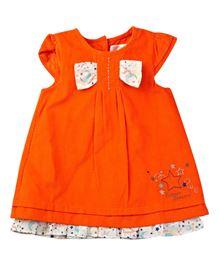 M&M Mega Sleeves Dress With Embroidery - Orange