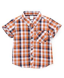 Babyhug Half Sleeves Checks Shirt - Orange Navy