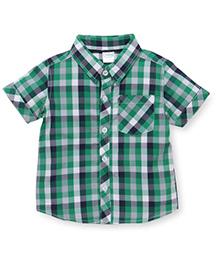 Babyhug Half Sleeves Checks Shirt - Green Navy
