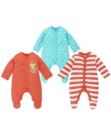 Babyoye Sleepsuit Pack of 3 - Orange Blue