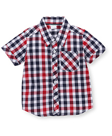 Babyhug Half Sleeves Checks Shirt - Red Navy