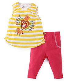 M&M Sleeveless Top And Legging Set - Yellow Pink
