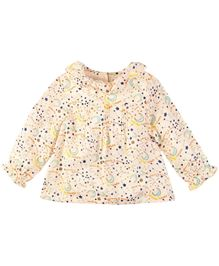 Babyoye Full Sleeves Planets Printed Top - Cream